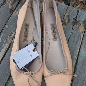 Women's Zara Basic Nude Leather Flats Shoes 9/39